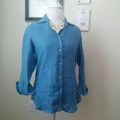 ??Classic Beauty Blue and Green 100% Linen Button Down shirt by Ralph Lauren. Perfect condition, like new. Looks amazing with pearls. Dress up or down, either way you will look fantastic and classy. Ralph Lauren Tops Button Down Shirts