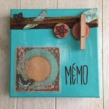 Décoration sur toile, mémo turquoise. Plumes,pincettes...by Dékaflore