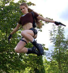 Lara Croft jump by saricroft