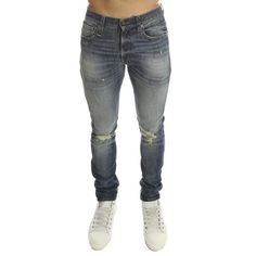 R13 Skate Jean Enfield ($450) ❤ liked on Polyvore featuring men's fashion, men's clothing, men's jeans, men, mens slim fit jeans, mens ripped jeans, mens destroyed jeans, mens slim jeans and mens blue jeans