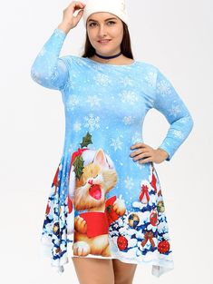 3532c984d877 Only  16.69,buy Christmas Snowflake Kitten Print Full Sleeve Skater Dress  at GearBest Store with