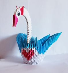 3D origami swan double wings red heart wedding decor Christmas birthday gift…