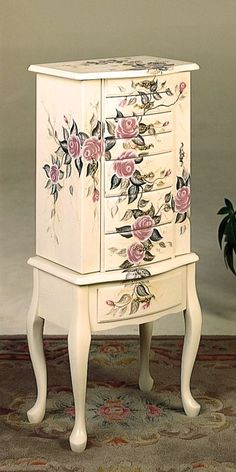 Image Detail For  Painted Furniture   White Finish Wood With Hand Painted  Roses Floral .