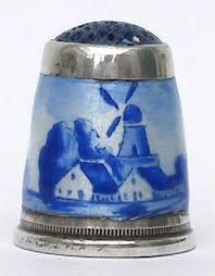 Blue and white Dutch design enamel thimble - Google Search