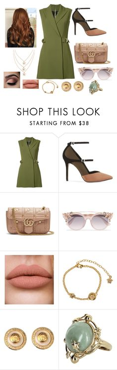 """""""Untitled #897"""" by carmen-lou ❤ liked on Polyvore featuring Balmain, Reiss, Gucci, Jimmy Choo, Versace and Vintage"""