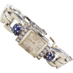 "Art Deco 14k White Gold Ladies 1.28 ctw Sapphire and Diamond Watch ~ 6 1/2"""