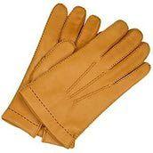 Forzieri gants homme en cuir de cerf marron clair à doublure cachemire