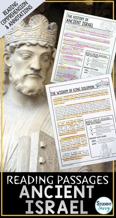 Ancient Israel Worksheets - Reading Comprehension Passages, Questions, and Annotations This resource contains 5 Engaging, Non-Fiction Reading Comprehension Passages with Directions for Student Annotations! Reading Comprehension Questions also included! Reading Comprehension Passages, Comprehension Questions, Ancient Mesopotamia, Ancient Civilizations, Map Quiz, 6th Grade Social Studies, Ancient Rome, History Books, Elementary Schools