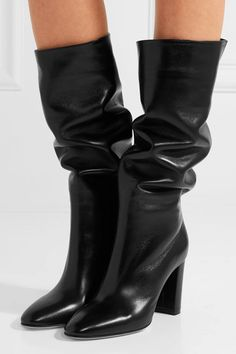 Heel measures approximately 85mm/ 3.5 inches Black leather Pull on Made in Italy