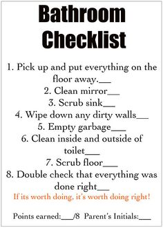 Detailed chore lists for the kids