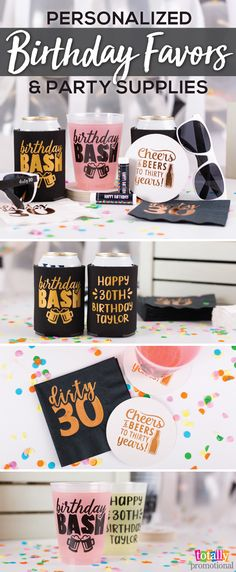 Make your celebration special without breaking the bank with customized birthday favors! We have great design ideas ready to print on your personalized gifts, or you can upload your own artwork for most products! Order your custom birthday party supplies such as cups, coasters and can coolers to accent any theme. Make this a #birthdayparty to remember!