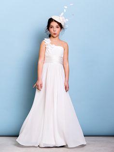 Floor-length Chiffon Junior Bridesmaid Dress - Ivory A-line One Shoulder - USD $73.59