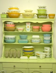 Pyrex Collection in the old farm house cupboard sweet!