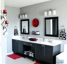 Red bathroom red and black bathroom decor red bathroom decor red black and white bathroom ideas . Small Grey Bathrooms, Grey Bathrooms Designs, Gray And White Bathroom, Red Bathrooms, Red Bathroom Decor, Bathroom Colors, Bathroom Ideas, Bathroom Things, Bathroom Wall