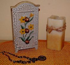 Decorative 3 Drawer Crackle Painted Wood Jewelry Trinket Box