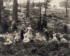 """Love this old pic!!  1912 Photo of tableau on the Lower Pleasure Grounds at Salem College, a Moravian College in Winston-Salem North Carolina, founded in 1772. The gardens at the Women's College in Salem were """"designed for literary repast, & evening amusement."""""""