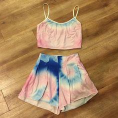 Tie Dye Set Pastel tie dye top and shorts set. Dresses Mini