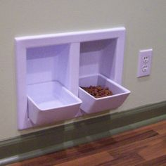 Built-in food and water dishes. No more doggie bowls to move around when sweeping/mopping. Such a good idea!
