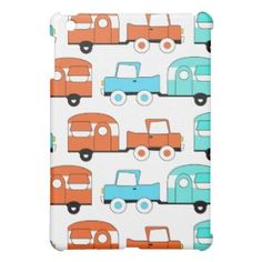 Retro Camping Trailer Turquoise Orange Vintage Car Case For The iPad Mini
