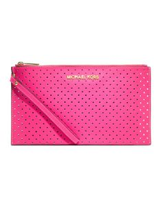MICHAEL Michael Kors  Large Jet Set Perforated Zip Clutch. $98