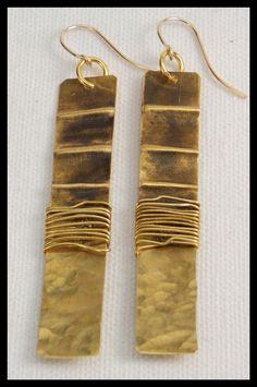 JEZEBEL - Handforged Foldformed Wirewrapped Long Bronze Statement Earrings by sandrawebsterjewelry on Etsy