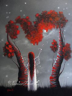 ORIGINAL DREAMSCAPE PAINTING red heart tree fairy door shawnaerback, $2050.00