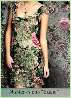 Irish crochet. Irská krajka. Модели в технике ирландского кружева.  Пряжа зеленых оттенков, черного, бежового и розового. Yarn shades of green, black, pinc and beige. Handmade. Dress.