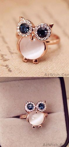 Cheap Lovely Owl Opal Opening Animal Ring For Big Sale!Lovely Owl Opal Opening Animal Ring is a simple but unusual ring. Rose Gold Engagement Ring, Vintage Engagement Rings, Diamond Wedding Bands, Vintage Rings, Wedding Rings, Cute Rings, Unique Rings, Beautiful Rings, Ladies Silver Rings