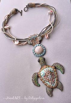 sea turtle polymer clay summer necklace with por Polyclaydesign