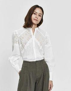 Farrow / Shea Eyelet Button-Up Shirt in 2020 Eyelet Dress, Lace Dress, Batik, Haute Couture Fashion, Sheer Fabrics, Boho Tops, Fashion 2020, Modest Fashion, Blouse Designs