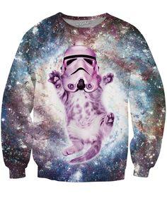 Space Cat Kitten Wearing Helmet Explorer Funny Hooded Sweatshirt Hoodie
