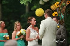 Teal and Yellow wedding. love the colors and her earrings