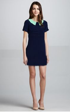 Morpheus Boutique  - Blue Green Collar Cap Sleeve Celebrity Dress