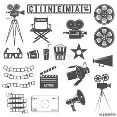 Вектор: Set of cinema icons. Directors chair, cinema cameras, 3d goggles