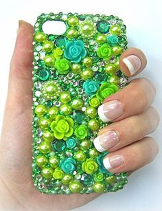 Custom Order for Handmade Decoden Bling Phone Case for Any Phone - Encrusted with Pearls and Rhinestones and Cabochons - Any Colour You Like. £25.00, via Etsy.