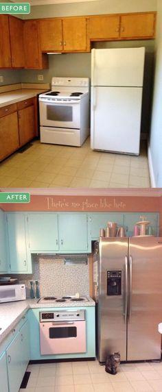 Patti and Darin's yabba dabba DIY kitchen makeover - more thumbs up for Wilsonart Betty laminate - Retro Renovation