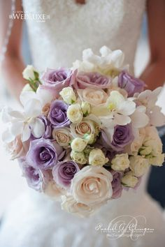 Ultra Elegant Bridal Bouquet Featuring: Lavender & Violet Roses, Cream Sahara Roses, Ivory Spray Roses, White Orchids~~~~