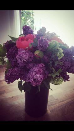Bouquet de pivoines et lila
