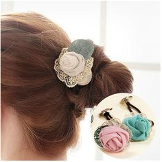 Casualfashion 6Pcs Korean Style Women Fashion Hair Band, Brand New Lace Rose Flower Hair Ring, Ladies Hair Accessories -- Read more reviews of the product by visiting the link on the image.