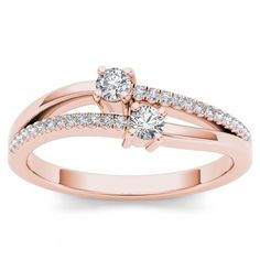 De Couer 10k Rose Gold 1/4ct TDW Diamond Two-Stone Ring