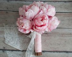 Blush Pink Peony Bouquet with Rhinestone Handle by KateSaidYes