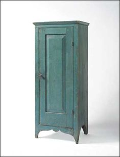 """19th C. Pennsylvania Pine Small Standing Cupboard with Single Raised-Panel Door, in original blue paint, c.1820-40, Ht. 80 ¾"""", W. 20 ¾"""", D. 17½""""."""