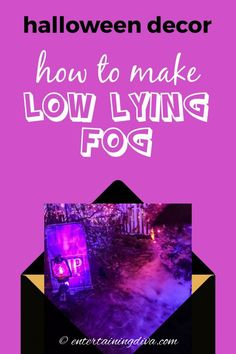 Want to make your Halloween front yard graveyard extra scary? Here's an awesome solution - easy Halloween fog that stays low to the ground and is super inexpensive. This easy DIY Halloween outdoor decor will definitely make that scary atmosphere! Halloween Yard Art, Halloween Graveyard, Halloween Bottles, Spooky Halloween Decorations, Outdoor Halloween, Halloween House, Halloween Ideas, Halloween Stuff, Halloween Scene Setters