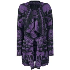 """- Knitted cardigan  - All-over pattern - Long sleeved - Worn open - Loose fit  This exclusive violet-black Ladies """"Fair Isle"""" Cardigan features various figures from the film 'The Nightmare Before Christmas', including Jack Skellington and various ghosts. The casually cut cardigan is worn open, and you can get it in sizes up to 3 XL."""