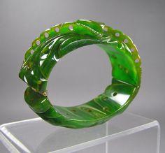 Heavily Carved Bakelite Clamper Marbled Green by WickedMagpie