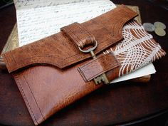 Boho Leather Wallet w/ Vintage Lace & Antique Key by Urban Heirlooms, via Flickr