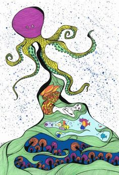 Octopus - eatingalia.it _ Dimensions: 297 x 420 mm _ Water Colors & Pantone Colors & Indian Ink #art #drawing #watercolors #pantone #ink