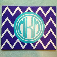I needed a painting that would match my room, so I made this monogram painting! Diy Monogram, Monogram Canvas, Diy Canvas, Canvas Art, Diy And Crafts, Arts And Crafts, Creative Crafts, Monogram Painting, Crafty Craft