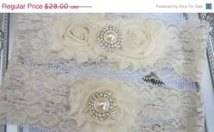 20% OFF SALE: Personalised vintage inspired wedding garter/ Bridal Garter Set/ Ivory lace garter / stretch lace garter / toss ga. $22.40, via Etsy.