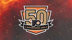 Philadelphia Flyers Anniversary Logo on Chris Creamer's Sports Logos Page - SportsLogos. A virtual museum of sports logos, uniforms and historical items. Flyers Hockey, Hockey Logos, Nhl Logos, Hockey Teams, Sports Teams, Hockey Stuff, Sports Logos, Ice Hockey, Philadelphia Flyers